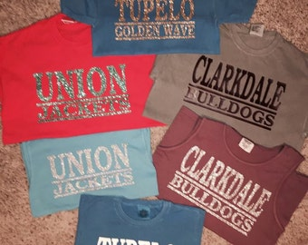 Comfort Colors Short Sleeve School Spirit T-shirts - Any Color.  Any School