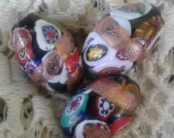 3 Large Colorful Murano Milifiore Beads
