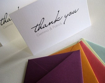 Personalized Thank You cards- set of 50, custom colors, wedding stationery, notecards, destination wedding, gift, present