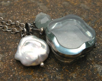 clover shaped glass locket, sterling silver and glass locket, locket with gemstones, aquamarine and pearl locket