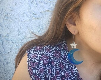 Moonlight Earrings, Acrlyic, Acrylic Paint, Aluminum and Sterling Silver