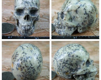 """2.02"""" 3.3oz 93.1g Unknown Dendritic Stone Skull Realistic Crystal Healing Magick Metaphysical Mystic Reiki Wicca Large 2 inch Cream SK1414"""