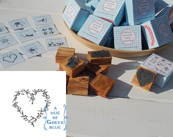 Greece Inspired Olive Wood Stamp in Box - Olive Heart
