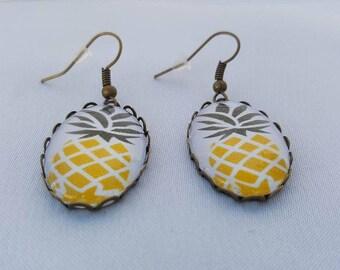 Bronze - yellow pineapple earrings