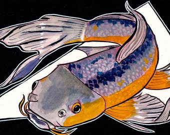 Koi ORIGINAL Gouache Watercolor Painting