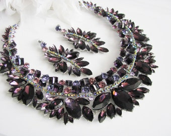 Purple Statement Wedding  Necklace Bridal Necklace - Bridal Jewelry - Wedding Necklace - Pageant JewelryBridal Necklace
