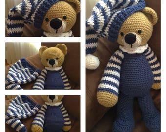 Crochet Amigurumi Toy Sleepytime Bedtime Blue Pajama Teddy Bear Stuffed Animal Plushie Softie