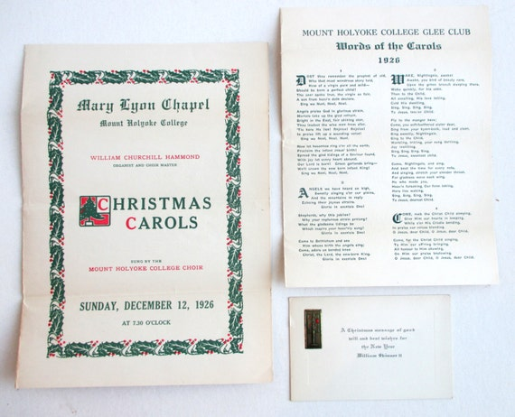 1926 mount holyoke college glee club christmas concert program plus 1926 mount holyoke college glee club christmas concert program plus a lyrics sheet insert plus an art deco style antique christmas card from stopboris Gallery