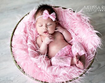 Pink Lace Pants and Lace Bow Mohair Headband Newborn Photography Prop