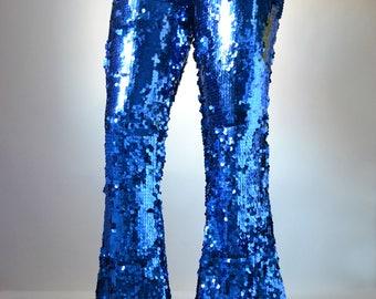 Royal Blue Sequin Wide Flare Pants