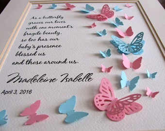 8X10 Fragile Beauty Personalized 3D Butterfly Art. Pink & Aqua Shown or YOUR Color Choices. Infant Loss / Memorial Art. Made to Order