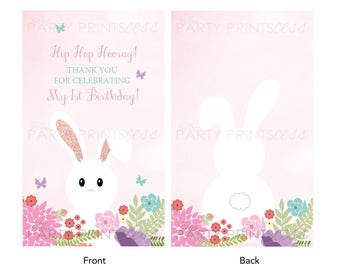 Bunny gift tag etsy bunny thank you tags digital download birthday or easter thank you or gift tags negle Images