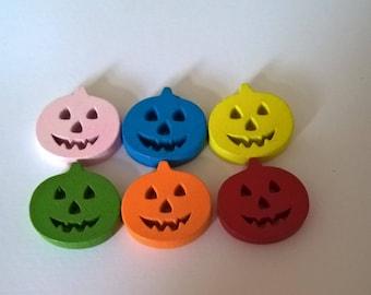 Halloween Pumpkin Mixed Coloured Wooden Buttons Pack Of 20