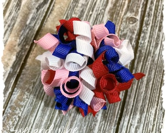 Small Korker Bow - Royal Bright Electric Blue Red Pink White - Patriotic - READY TO SHIP