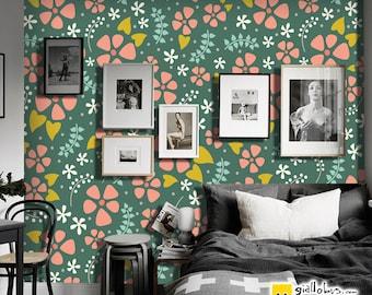 Self-adhesive wallpaper-Scandinavian-pink flowers-yellow BUS