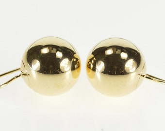 14K Round Ball Sphere Hook Back Dangle Earrings Yellow Gold