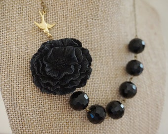 Statement Necklace Bridesmaid Jewelry Black Necklace Poppy Necklace Vintage Style Necklace Beaded Necklace Flower Necklace Statement Jewelry