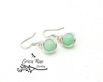 aquamarine earrings, aquamarine gemstone, gemstone earrings, silver earrings, wire wrapped earrings, beaded earrings, blue earrings