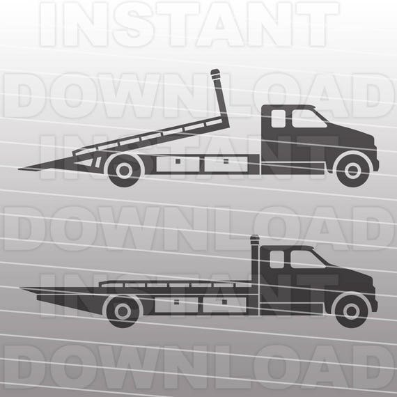 Rollback Truck Svg File Tow Truck Svg File Flatbed Truck