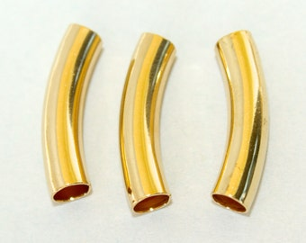 6 GOLD Curved Noodle TUBE Beads - 23X5mm with Large 3.8mm Hole Tube Findings - Beading Tube - USA Seller - Instant Shipping - Ref 4828