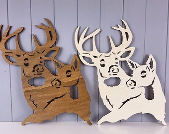 Buck and Doe 3D Wooden Wall Art - Stag and Doe - Poplar