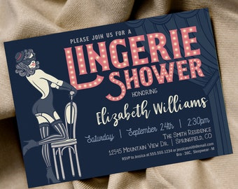 Lingerie Shower Invitation, Pink & Navy printable invite, INSTANT DOWNLOAD, editable digital file
