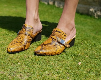 Leather Shoes, Slip On Shoes, Women's Shoes, Yellow Shoes, Mules, Clogs,  Elegant Shoes,  Loaf Mules, Comfortable Shoes, Snakeskin Shoes