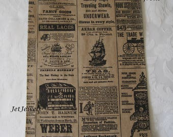 50 Paper Bags, Gift Bags, Newspaper Bags, Newsprint Bags, Brown Paper Bags, Candy Bags, Kraft Paper Bags, Favor Bags, Vintage Style 6x9