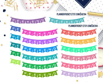 Set of 24! Weekend Banner Planner Stickers! Set # 3! AE104
