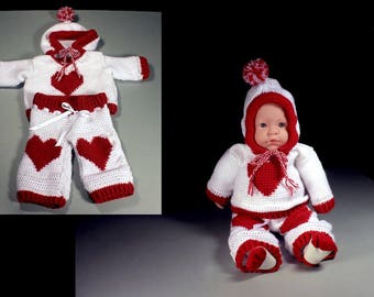 Crochet Valentines Baby Outfit, Baby Valentine Set, Baby Sweater and Pants, Red and White, Baby Clothing, Newborn to 3 Months, Baby Gift Set