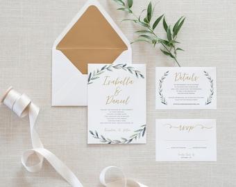 Printable Greenery Wedding Invitation Set, Minimalist, Simple Wedding Invitation, Details Card, RSVP Card, Botanical Wedding, Rustic (011)