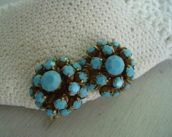 SALE Vintage Turquoise Rhinestone Glass Clip Earrings 1960's