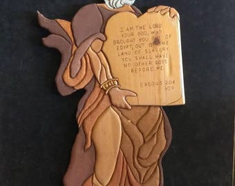 Vintage Wood Carving Carved Wooden Moses Art Sculpture Religious Wall Plaque