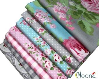 CHARLOTTE Tanya Whelan, HALF YARD Bundle, Free Spirit Fabrics, Shabby Chic Quilt, Baby Girl Nursery, Quilting, Cotton, Pink Floral, 8 Skus