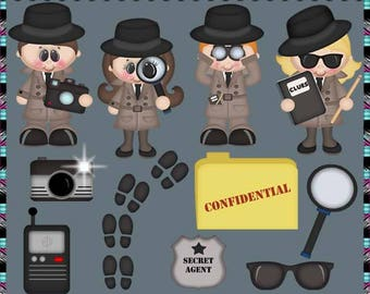 Detective, Private Investigator, Spy, When I Grow Up Collection - Instant Download - Commercial Use Digital Clipart Elements Set