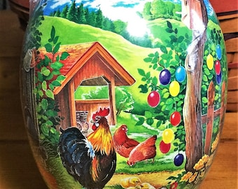 "Vintage Easter Egg (7""x5"") ROOSTER MOUNTAIN Paper Mache Handmade in Germany MINT Condition Factory Sealed"