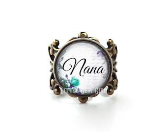 Nana Ring Personzlied Grandma Jewelry - Custom Mother's Day Gift - High Quality Adjustable Filigree Ring Band in Bronze or Silver 14 Styles
