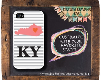 Kentucky iPhone Case, Personalized State Phone Case, iPhone 4, iPhone 4s, iPhone 5, iPhone 5s, iPhone 5c, iPhone 6, Plastic iPhone Case