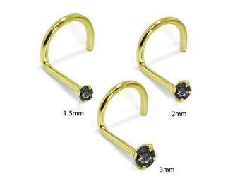 Black Diamond - 14KT Yellow Gold Nose Twist