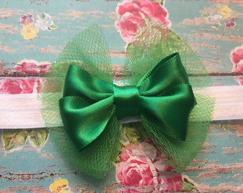 Baby Headbands ~ Hair Bows ~ Boutique Bow Headband ~ Newborn ~ Infants ~ Toddlers Hair Accessories ~ Baby Shower Gifts ~ Green Headbands