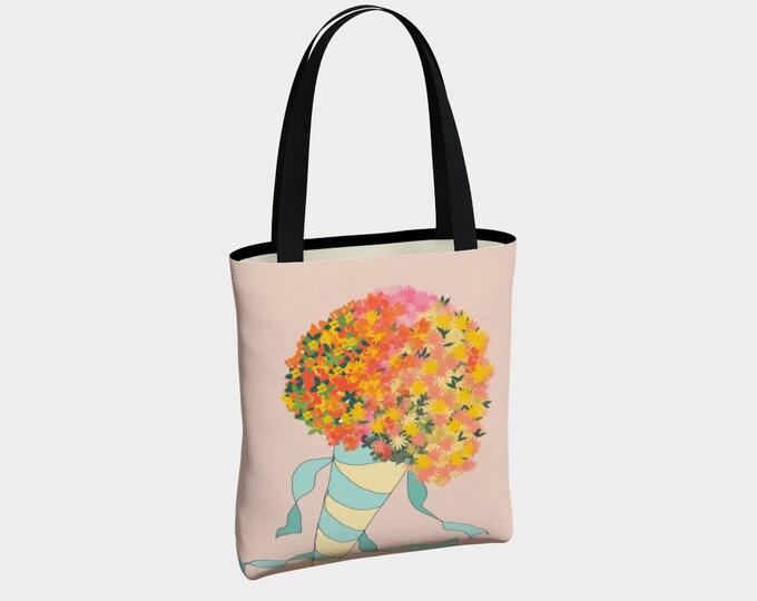 Pink Bouquet Tote Bag, Tote Bag, Canvas Tote Bag, Shoulder Bag, Floral Tote, Fashion Tote, Market Bag, Basic Tote Bag, Urban Tote Bag