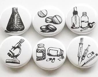 Pharmacist Gift magnets graduation pills vials microscope beaker syringe pharmacy science party favor stocking stuffer medical button pin