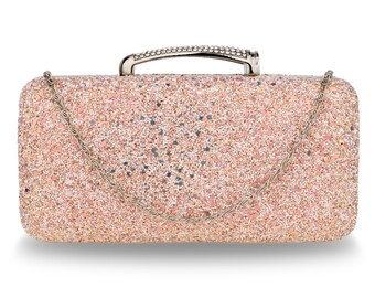Stylish Elegant Champagne Glitter Evening Wedding Clutch Box