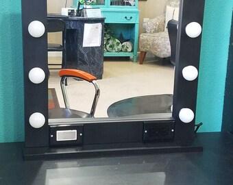 BLACK 24 x 24, Hollywood Style Lighted Vanity Makeup Mirror