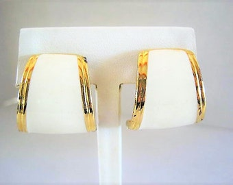 Kenneth J Lane Earrings, Signed KJL, White Enamel Earrings, Clip Ons