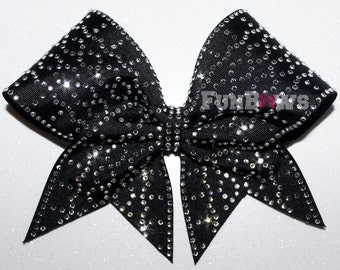 Beautiful Blinged out Black glitter rhinestone cheer bow by FunBows !