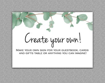 Create your own Custom Sign, Digital download, Eucalyptus #10-Custom