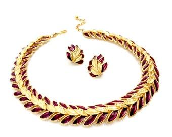 Trifari TM Burgundy Guilloche Enamel Demi, Choker Necklace & Earring Set, Gold Tone, Floriated Design, Designer Signed, Vintage Gift for Her