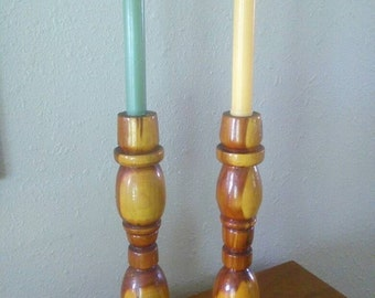 Vintage Homemade Mesquite Wood Candlesticks