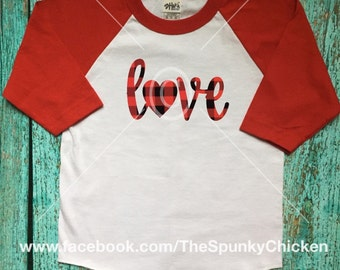 Youth Red Black Buffalo Check Plaid Love Shirt Raglan